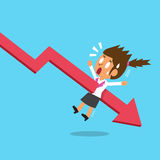 Cartoon businesswoman with red arrow. For design Royalty Free Stock Images