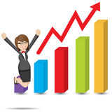 Cartoon businesswoman with rising chart Royalty Free Stock Image