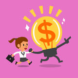 Cartoon businesswoman running with big idea Royalty Free Stock Photo