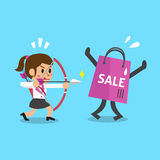 Cartoon businesswoman and shopping bag Royalty Free Stock Image