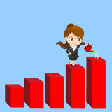 Cartoon Businesswoman shows sale growth Royalty Free Stock Image