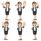 Cartoon businesswoman with sign hand Royalty Free Stock Photography