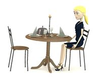 Cartoon businesswoman sits on restaurant Stock Images