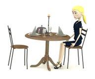 Cartoon businesswoman sits on restaurant Stock Images