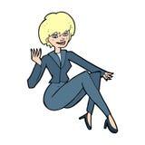 Cartoon businesswoman sitting Stock Image