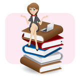 Cartoon businesswoman sitting on stack of book with computer lap Royalty Free Stock Photo