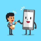 Cartoon businesswoman and smartphone character. For design Royalty Free Stock Images