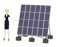 Cartoon businesswoman with solar panel Royalty Free Stock Photo