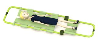 Cartoon businesswoman on stretcher Royalty Free Stock Image