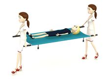 Cartoon businesswoman on stretcher Royalty Free Stock Photos