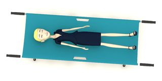 Cartoon businesswoman on stretcher Stock Images