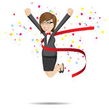 Cartoon businesswoman in success action Royalty Free Stock Image