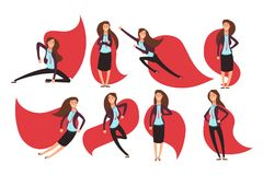 Cartoon businesswoman superhero in red cloak. Different actions and poses vector superheros character set Stock Photo