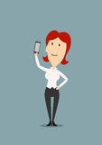 Cartoon businesswoman taking selfie shot Royalty Free Stock Photography