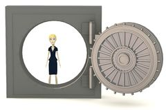 Cartoon businesswoman in vault Stock Photos