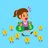 Cartoon businesswoman walking with money coins Stock Photography
