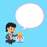 Cartoon a businesswoman with white speech bubble. For design Stock Images