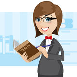 Cartoon businesswoman writing diary Royalty Free Stock Photography