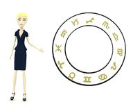Cartoon businesswoman with zodiac Stock Images