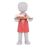 Cartoon Butcher in Apron with Tray of Deli Meats. Generic 3d Rendered Cartoon Character Wearing Red Apron and Holding Tray with Variety of Deli Sliced Meats in Royalty Free Stock Photo