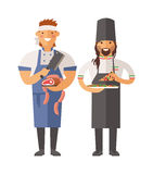 Cartoon butcher and pizza chef vector character illustration Royalty Free Stock Image
