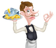 Cartoon Butler Holding Fish and Chips Royalty Free Stock Images