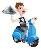 Cartoon Butler on Scooter Moped Delivering Food Stock Photography