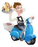 Cartoon Butler on Scooter Moped Delivering Hot Dog Stock Photos