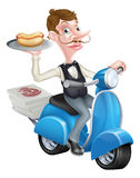 Cartoon Butler on Scooter Moped Delivering Hotdog Royalty Free Stock Images