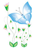Cartoon butterflies with flowers stock illustration