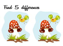 Free Cartoon Butterfly And Mushroom Over Blue Sky. Find 5 Differences Royalty Free Stock Photo - 84280055
