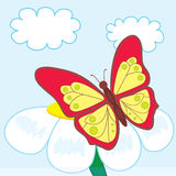 Cartoon butterfly on beautiful flower. Vector illustration Stock Images
