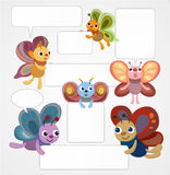 Cartoon butterfly card/speech. Vector drawing Royalty Free Stock Images