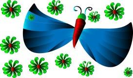 Cartoon butterfly with cartoon flowers Stock Photos