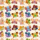 Cartoon butterfly icon set seamless pattern. Drawing Stock Image