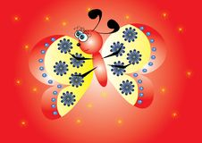 Cartoon butterfly on isolated background Royalty Free Stock Images