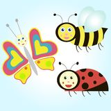 Cartoon butterfly, ladybird and bee Royalty Free Stock Photos
