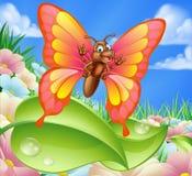 Cartoon Butterfly in Meadow Stock Image