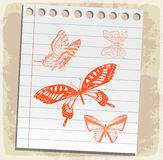 Cartoon butterfly on paper note,  illustration Stock Images