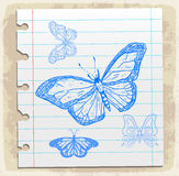 Cartoon butterfly on paper note, vector illustration Royalty Free Stock Photos