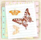 Cartoon butterfly on paper note, vector illustration Stock Photo