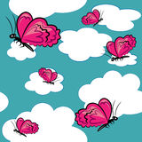 Cartoon butterfly in sky  texture. Royalty Free Stock Image