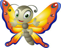 Cartoon butterfly on a white background Stock Images