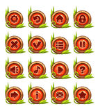 Cartoon buttons menu set with red middle Stock Image