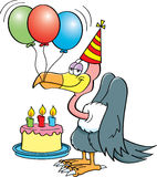 Cartoon buzzard with a birthday cake. Cartoon illustration of a buzzard wearing a party hat with a birthday cake and balloons Royalty Free Stock Photos