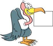 Cartoon buzzard holding a sign. Cartoon illustration of a buzzard holding a sign Royalty Free Stock Image