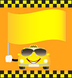 Cartoon cab with banner Royalty Free Stock Photography