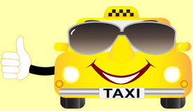 Cartoon cab in sunglasses Stock Photography