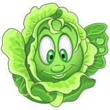 Cartoon Cabbage character. Iceberg Lettuce. Happy Vegetable symbol. Eco Food icon. Design element for kids coloring book, colouring page, t-shirt print, logo vector illustration