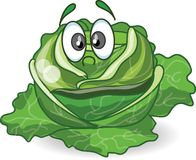 Cartoon cabbage with cute face,vector Stock Photos